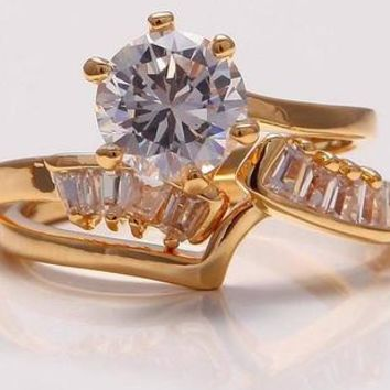 18K Yellow Gold Filled 7*7mm White Sapphire 2Pecs Ring Set Size 7.5
