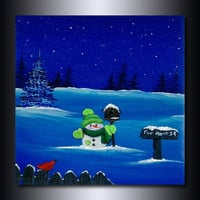 Snowman Print: 8 x 8 Christmas Giclee