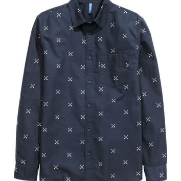 Patterned Cotton Shirt - from H&M
