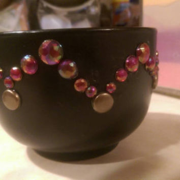 Island fruit scented soy candle in a glass bedazzled teacup
