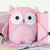 Pink Owl Pillow, Baby Toys,  Stuffed  Owl, Shower Gift Present