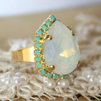 Crystal opal and Turquoise adjustable ring - 14k plated gold adjustable ring real swarovski rhinestones .