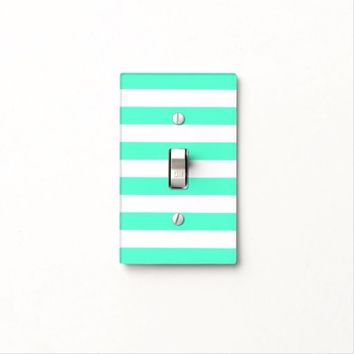 Mint White Stripes - Light Switch Cover