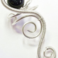 Blue Tiger Eye and Tarnish-Resistant Silver Spiral Cascade Ear Cuff
