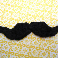 Crochet Mustache Applique, set of 5
