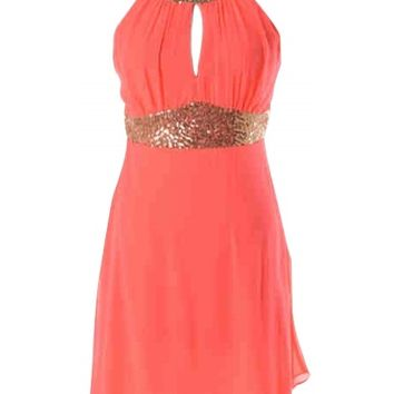 Coral Sequin Dress - Kely Clothing