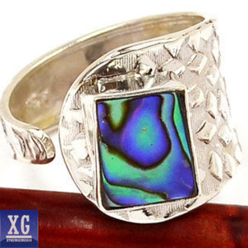SR89316 ABALONE SHELL 925 STERLING SILVER RING JEWELRY s.8