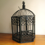 Vintage Bird Cage, Black Wire Bird Cage, Halloween Decor Idea, Hinged Lid