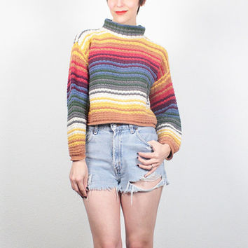 Vintage 90s Sweater Rainbow Striped CROP Sweater Textured Knit Cropped Sweater Pullover Jumper Soft Grunge Cozy Blanket Sweater M Medium