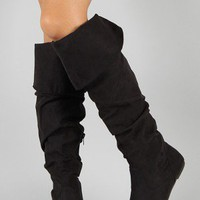 Bamboo Rebeca-54N Suede Slouchy Knee High Boot