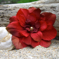 Flower Hair Clip-Shabby Chic Rustic Red Flower Hair Clip