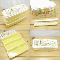 Cute 3 Layer Slim Bento Box Le Sucre YELLOW