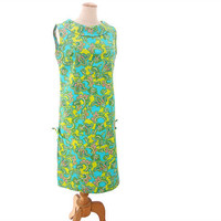 NOS Vintage 60s Shift Dress Paisley Print Blue Green Pink NWT