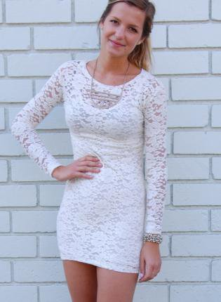 Black Long Sleeve Lace Dress on White Lace Long Sleeve Bodycon Dress On Wanelo