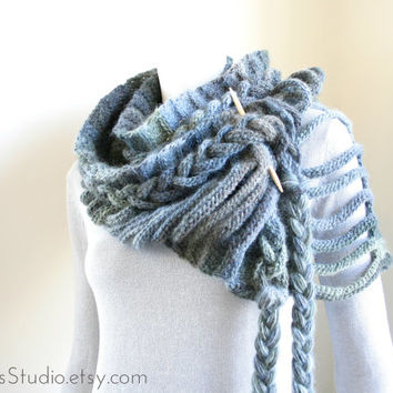 chunky scarf - long fashion crochet scarf - wide braided neck warmer - rustic modern - loop scarf - unique - ready made by Needless Studio