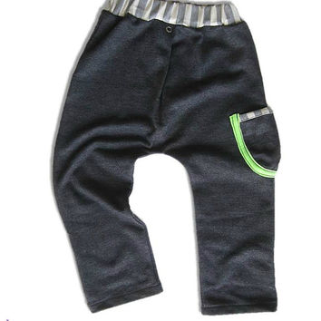 Boy Harem style Pants ,Grey and Neon Green Drop Crotch Baby Pants 3M-2Y