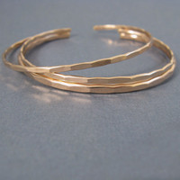 3 stacking cuffs in 1 Medium and 2 thin Ophelia cuffs, custom size rose gold fill bangle cuffs