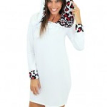 White Top With Red Leopard Print