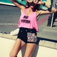 Unraveled 'Be weird' Crop Tank