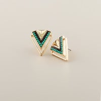 Gold and Turquoise Chevron Stud Earrings