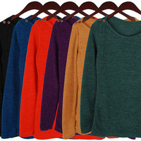 Womens Basic Long Sleeve Fall knit crew neck Top BB_035