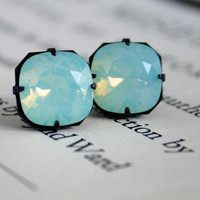 Chrysolite Opal Swarovski Crystal Earrings, Cushion Cut, Square, Dark Oxidized Brass, Estate Style, Holiday Gifts For Her