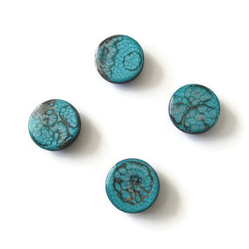 Decorative Magnets Set of 4 in aqua and black for home and office decor, hand painted wooden round magnets