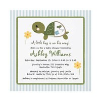 Turtle in Diapers Baby Shower Invitations Blue from Zazzle.com