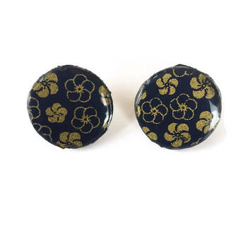 Black & Gold Floral Chiyogami Wooden Earrings