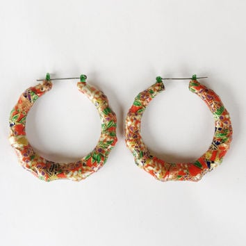 Red Chiyogami Bamboo Earrings