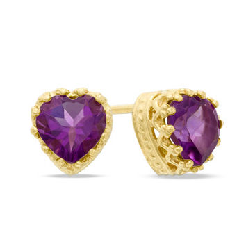 6.0mm Heart-Shaped Amethyst Crown Earrings in Sterling Silver with 14K Gold Plate