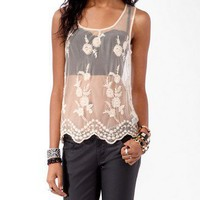 Embellished Embroidered Mesh Tank