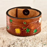 Autumn Colors Brown Leather Vintage Cuffs Wristbands Bracelets Handmade