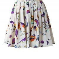 Birds Print Skater Skirt - Retro, Indie and Unique Fashion