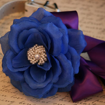 Royal Blue and Purple Floral Dog Collar, Royal Blue and Purple wedding Ideas, Pet wedding accessories, Dog Lovers, Pearl Floral collar