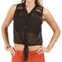 Black Lace Yoke Front Tie Top