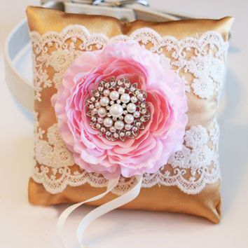 Gold and Pink Ring Pillow, Dog ring bearer pillow, Gold Wedding, Ring Pillow attach to dog Collar, Pet wedding accessory, Dog Lovers