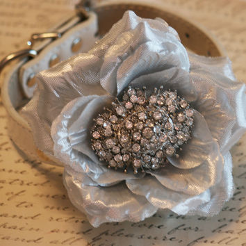 Silver Floral Dog Collar, Pet Accessory, Victorian, Christmas gift, Pet wedding accessory, Unique, Chic, Dog Lovers