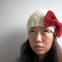 Chunky knit bow toque, Cream/ Red