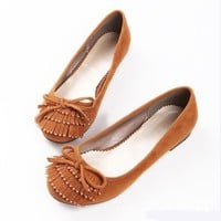 Apricot Man-made Suede Crystal Accent Tassel & Bow Decorated Women's Flats Shoes