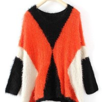 Black Orange White Round Neck Batwing Pullovers Sweater - Sheinside.com