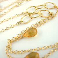 Citrine gold oval hoop long necklace