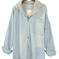 Light Blue Removable Cap Pocket Denim Blouse - Sheinside.com