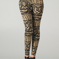 Mixed Tribal Leggings (Khaki+Black)