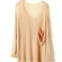 Beige Batwing Knitted Pullovers with Twin Drape Pockets