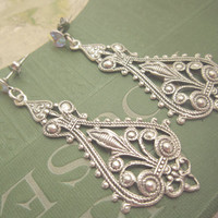 Wedding Bridal Jewelry Bridal Earrings Bohemian Earrings Antique Silver Lace Drop Earrings AB Swarovski Crystal Post Earrings