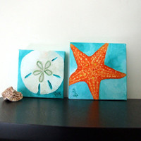 Original Paintings, SAND DOLLAR & STARFISH Set, 5x5 Oil on Canvas, Home Decor, Tropical Art