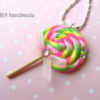 Kawaii colourful lollipop necklace