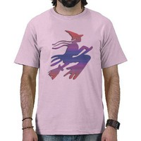 Red and Blue Witch T Shirt from Zazzle.com