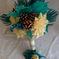Wedding Bouquet Poinsettia Bridal Bouquet- Light Teal Poinsettia- Ivory Zinnia- Pinecone - WinterWedding Accessory
